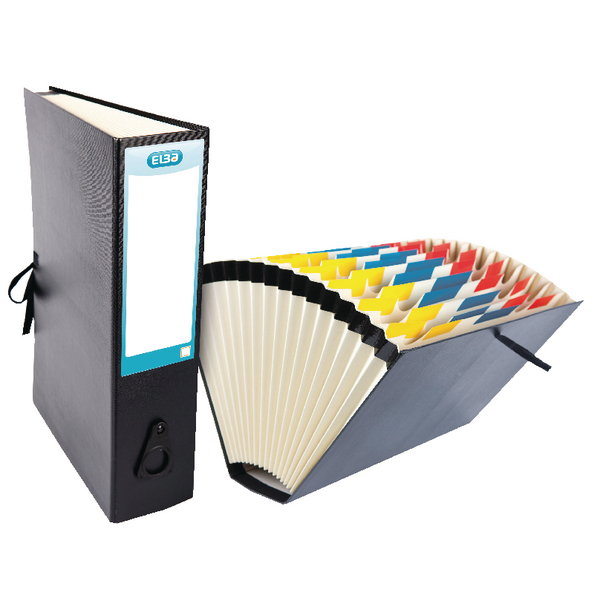 Elba Black Expanding Fan File 16 Pocket 100080766