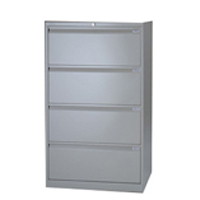Bisley Side Filing Cabinet 4 Drawer Goose Grey (Pack of 1)