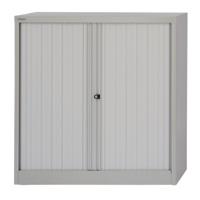 Image for Bisley Side-Opening Tambour Cupboard 1000x470x1016mm Goose Grey Ready Assembled AST40WGY