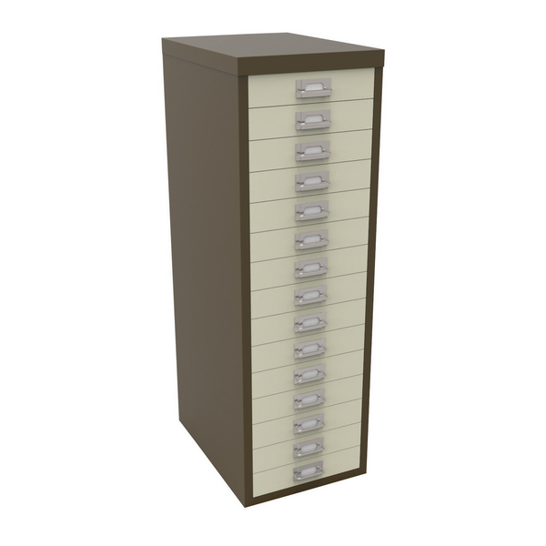 Bisley 15 Drawer Non-Locking Multi-Drawer Cabinet Coffee Cream BY08179