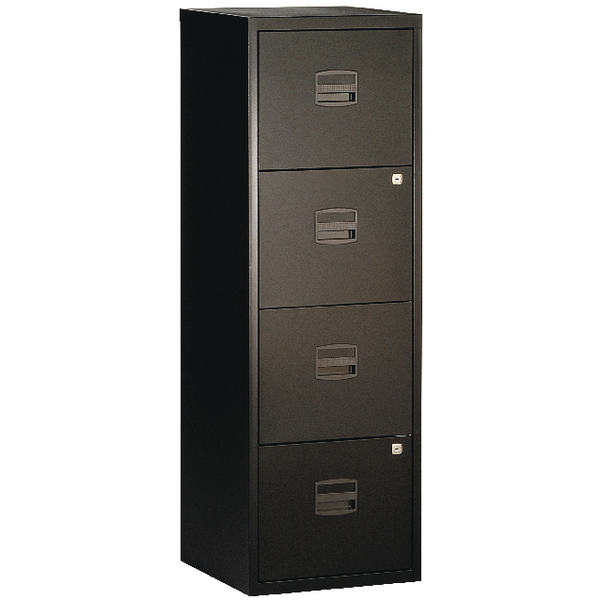 Bisley A4 Personal Filing Cabinet 4 Drawer Black