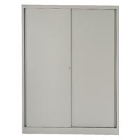 Bisley Sliding Door Cupboard 4 Dual Purpose Shelves Goose Grey