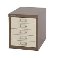 Bisley Non-Locking Multi-Drawer Cabinet 5 Drawer Coffee Cream (Pack of 1)