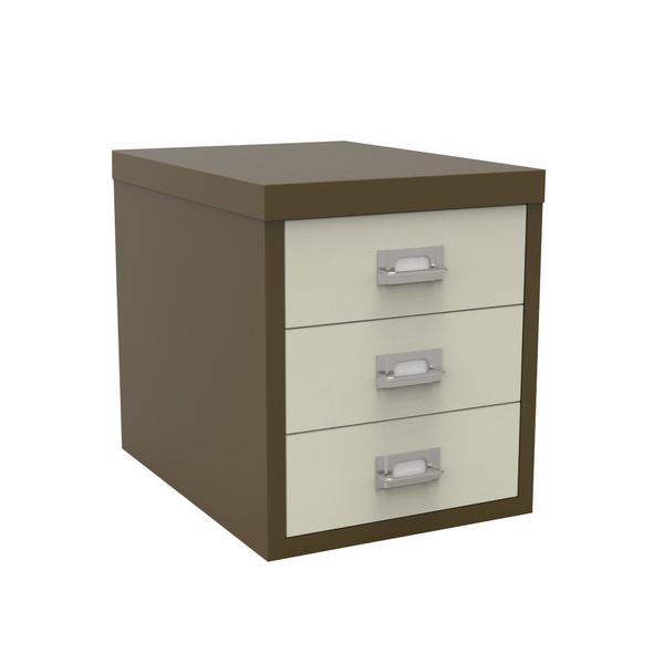 Bisley 3 Drawer Coffee Cream Non-Locking Multi-Drawer Cabinet