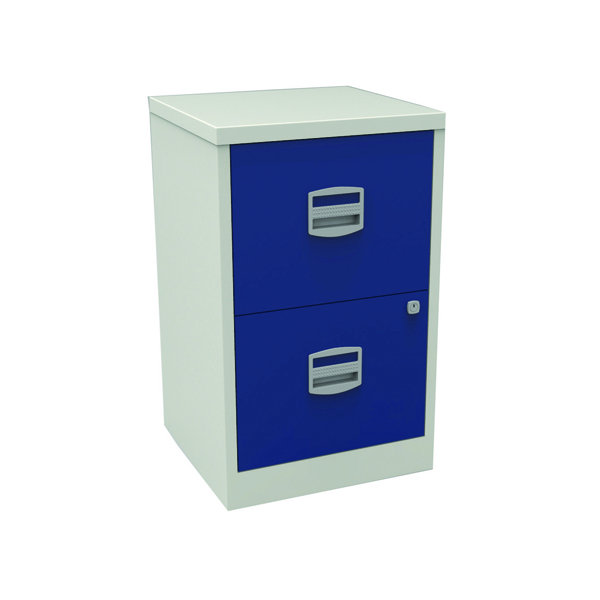 Bisley A4 Personal Filing 2 Drawer Lockable Grey and Blue