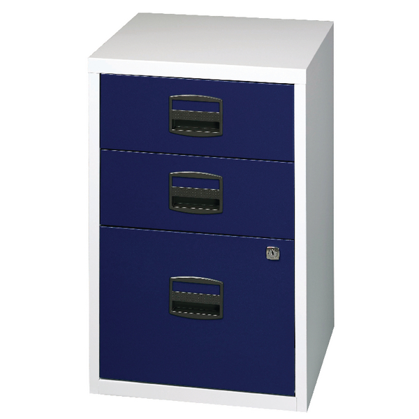 Bisley A4 Home Filer 3 Drawer Lockable Grey and Blue