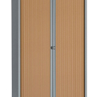 Bisley Eurotambour Unit W1000 x D430 x H1980mm 4 Shelf Silver and Beech (Pack of 1) BY63581