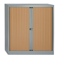 Bisley Eurotambour Unit W1000 x D430 x H1030mm 2 Shelf Silver and Beech (Pack of 1) BY63582