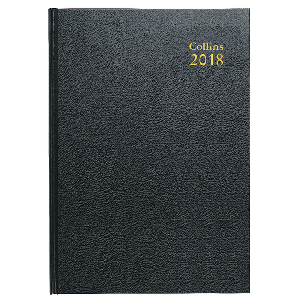 Collins A4 Desk Diary Day/Page 2018 Black 44