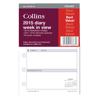 Collins Pocket 2016 Diary Week to View Organiser Refill KT3700