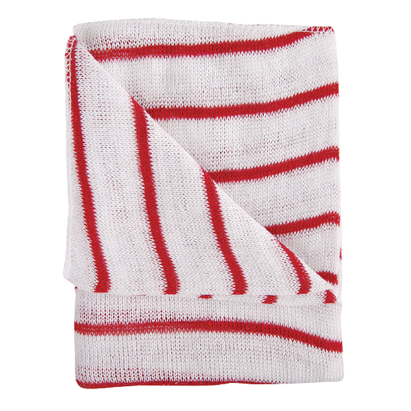Red and White Hygiene Dishcloths 16x12 Inches (10 Pack) HDRE1610P