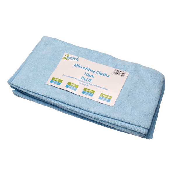 Image for 2Work Blue 400x400mm Microfibre Cloth Pack of 10 101161BU