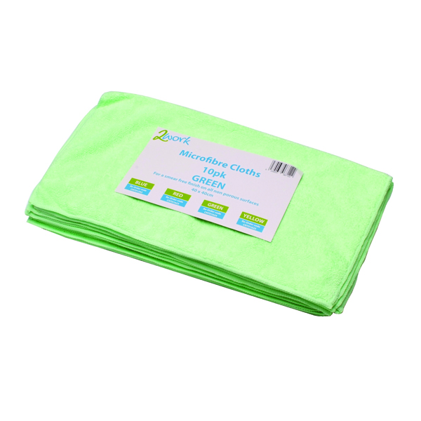 2Work Green 400x400mm Microfibre Cloth Pack of 10 101161GN