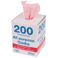 Antibacterial Cloths On A Roll Red Bx200
