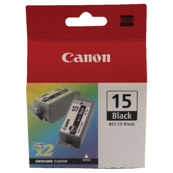 Canon BCI-15BK Black Inkjet Cartridges (2 Pack) 8190A002