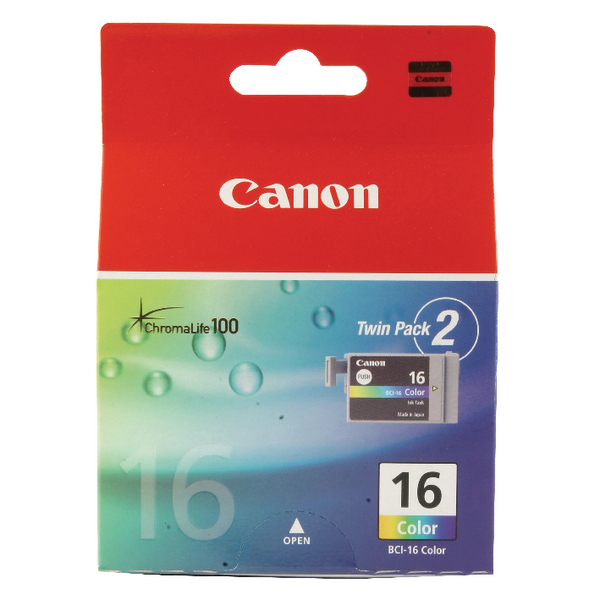 Canon BCI-16 Colour Inkjet Cartridges (2 Pack) 9818A002