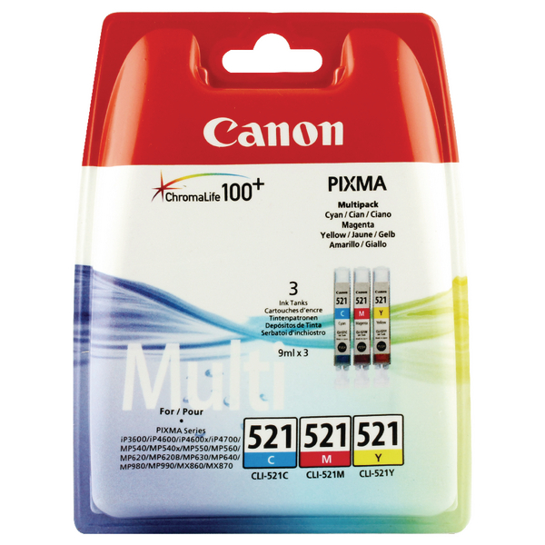 Canon CLI-521 Cyan/Magenta/Yellow Inkjet Cartridges (3 Pack) 2934B007
