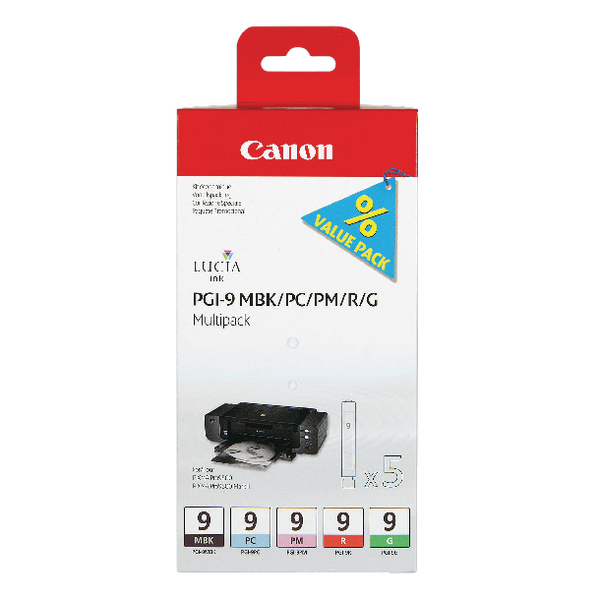 Canon PGI-9 Matte Black/Photo Cyan/Photo Magenta/Red/Green Inkjet Cartridges (5 Pack) 1033B013