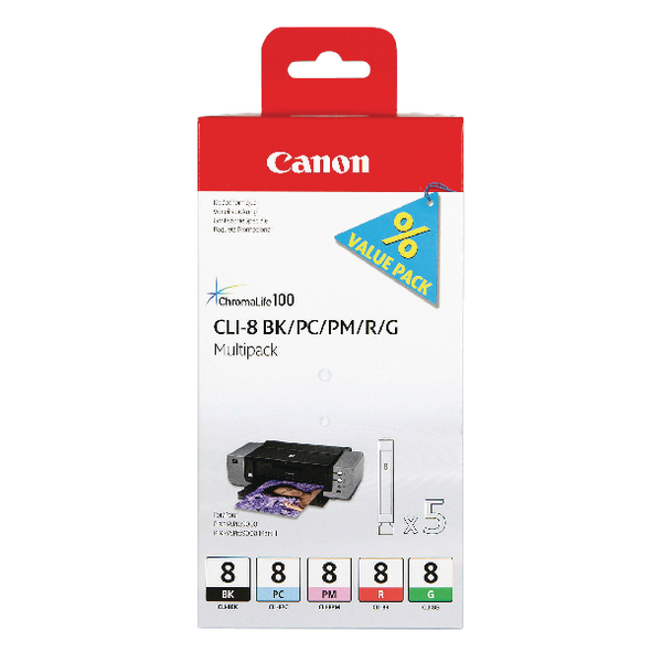 Canon CLI-8 Black/Photo Cyan/Photo Magenta/Red/Green Inkjet Cartridges (5 Pack) 0620B027