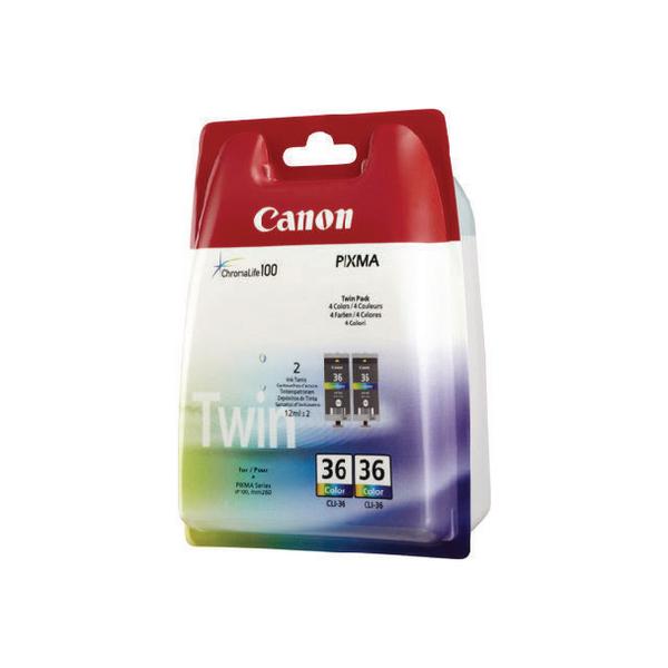 Canon CLI-36 Colour Inkjet Cartridges (Pack of 2) 1511B018