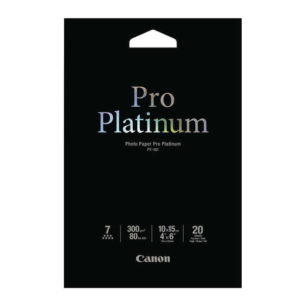 Canon PT-101 4x6 inches Photo Paper Platinum Pro (Pack of 20) Sheets 2768B013