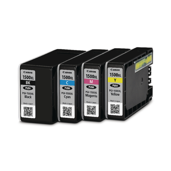 Canon PGI-1500XL Cyan/Magenta/Yellow/Black Inkjet Cartridges High Yield (4 Pack) 9182B004