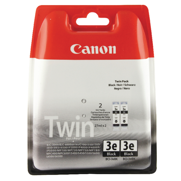 Canon BCI-3eBK Black Inkjet Cartridges (Pack of 2) 4479A298