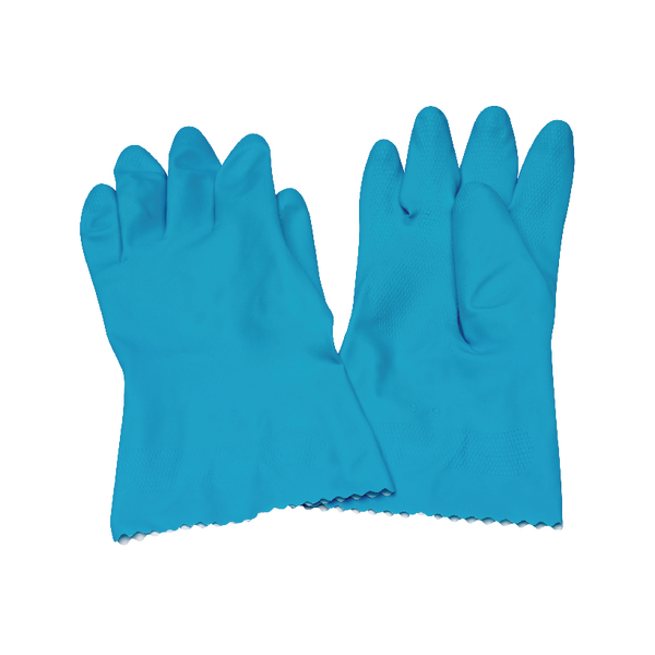 Caterpack Blue Medium Rubber Gloves (Pack of 6) KBMRY067
