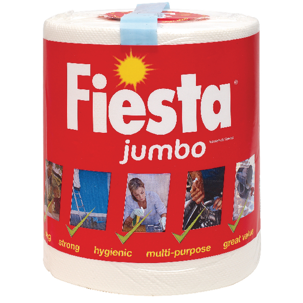Fiesta White Jumbo Kitchen Roll 400 Sheets 5604400