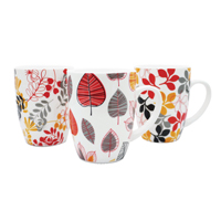 12oz Bullet Mugs Multi-Coloured Leaf Design (Pack of 12) P1160117