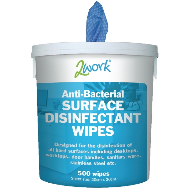 2Work Disinfectant Wipes Tub 500 EBSD500