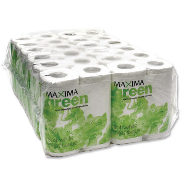 Maxima Green 2 Ply White Toilet Roll 200 Sheet (Pack of 48)