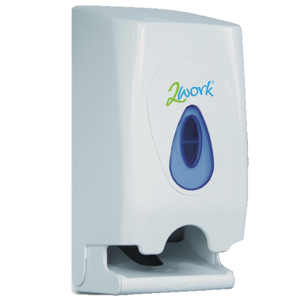 2Work Twin Toilet Roll Dispenser White KMON503