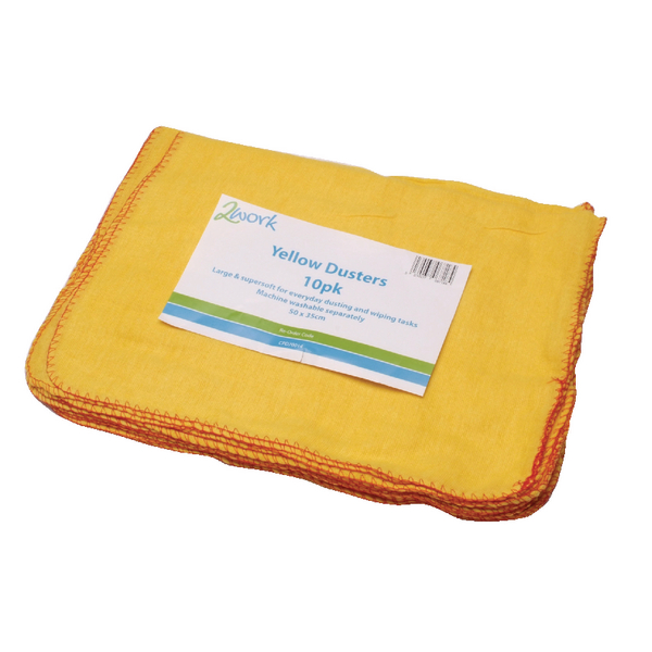 2Work Yellow Duster 508 x 355mm Pack of 10 103088