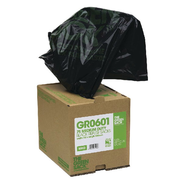 The Green Sack Black Compactor Sack in Dispenser (Pack of 40) VHP GR0602