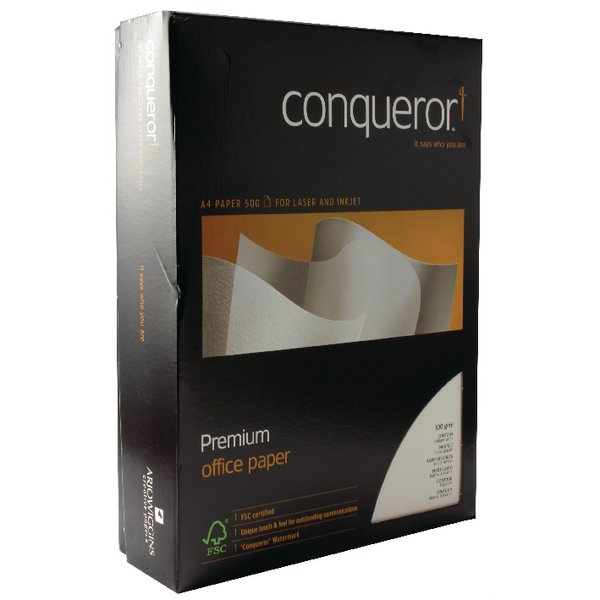 Image for Conqueror Contour Paper Embossed Brilliant A4 White 100gsm Ream (Pack of 500) CQC0324BWNW