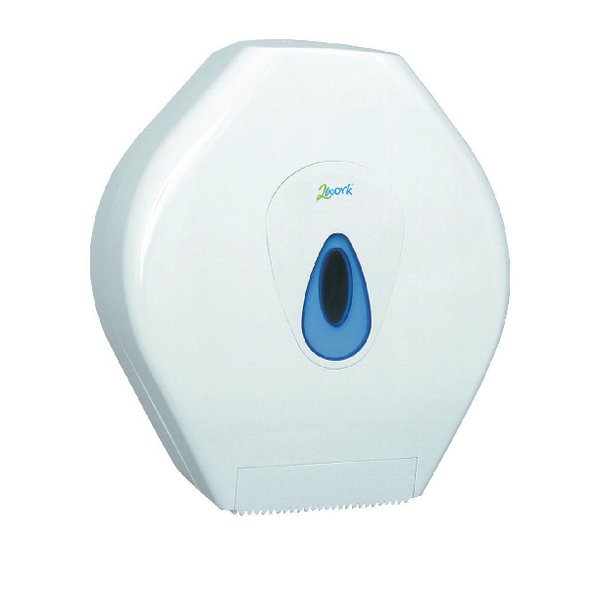 2Work White Mini Jumbo Toilet Roll Dispenser DS924E