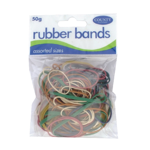 County Rubber Bands Coloured 50gm (Pack of 12)
