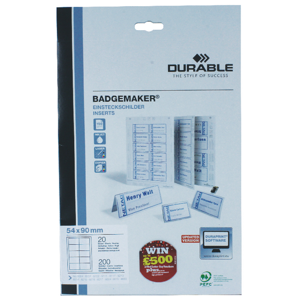 Durable Badgemaker 200 Inserts 54x90mm 1455/02 (Pack of 200)