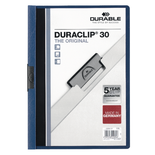 Durable A4 Duraclip File 3mm Dark Blue (Pack of 25) 2200/07