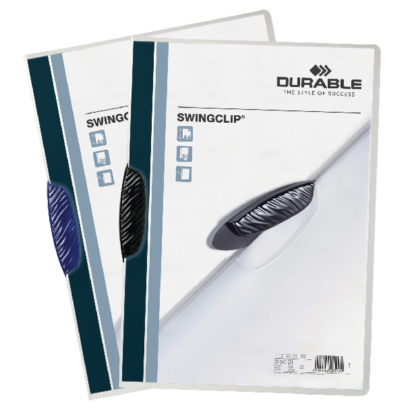 Durable Swingclip A4 Black Clip Folder Pack of 25 2260/01