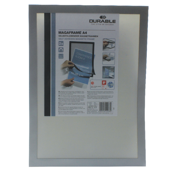 Durable A4 Silver Duraframe (2 Pack) 4872/23