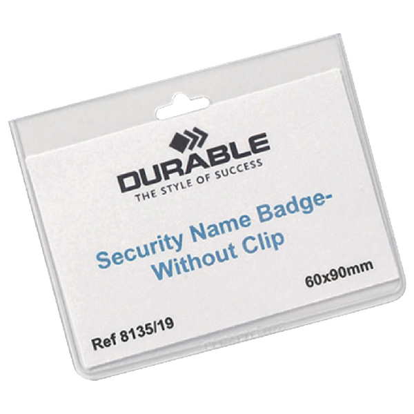 Durable No Clip Security Badge 60x90mm (20 Pack) 8135/19