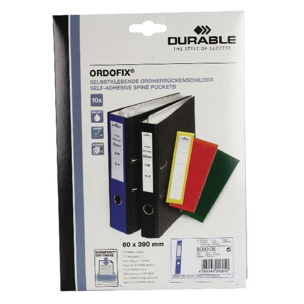 Durable Blue Ordofix File Spine Label (10 Pack) 8090/06