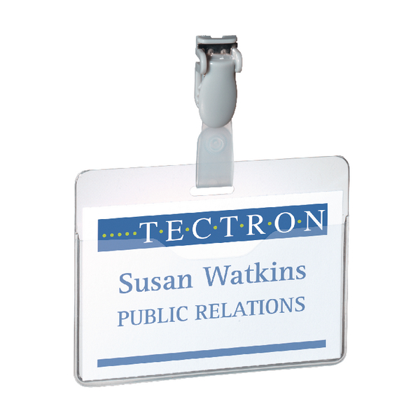 Durable Clear Visitor Name Badge 60x90mm (Pack of 25) 8147/19