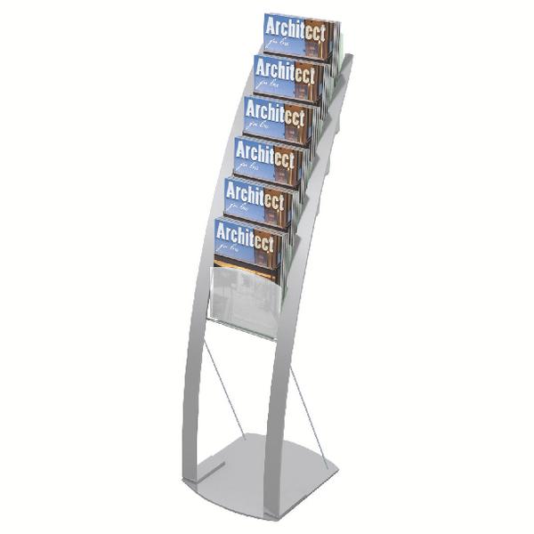 Deflecto Silver Six Pocket Literature Floor Stand DE693145