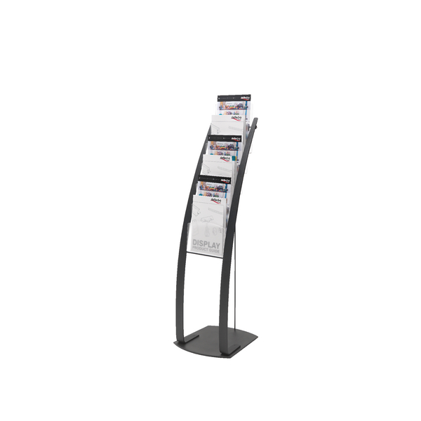 Deflecto Black Six Pocket Literature Floor Stand 693104