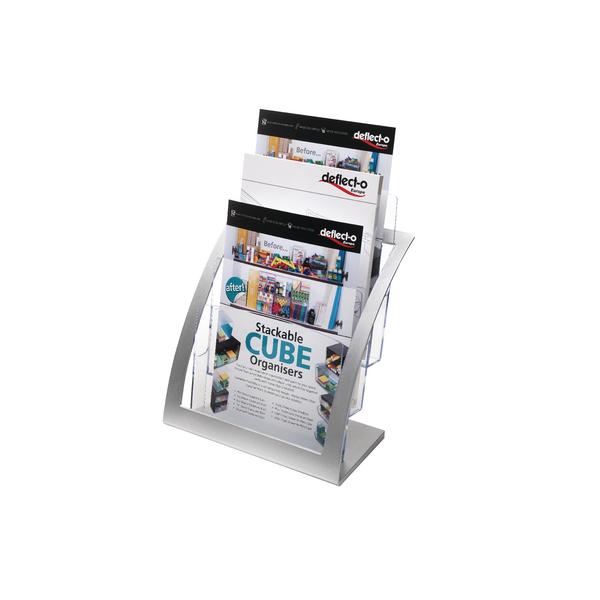 Deflecto Contemporary Counter Top Stand Silver 693745