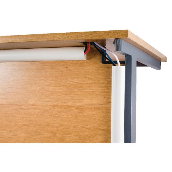 D-Line White Desk Trunking Cable Management 50x25mm 1.5m 2D155025W (2 Pack)