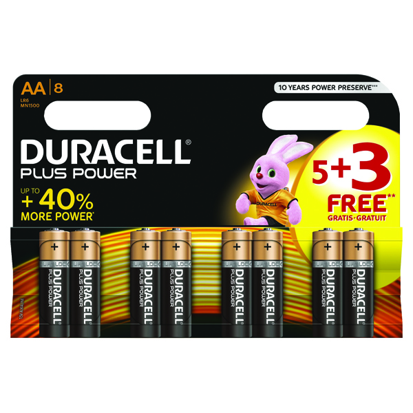 Duracell 1.5V AA Alkaline Battery (Pack of 8) Plus Power AA 5+3